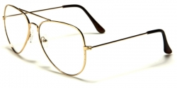 Metal Pilot Clear Lens Gold