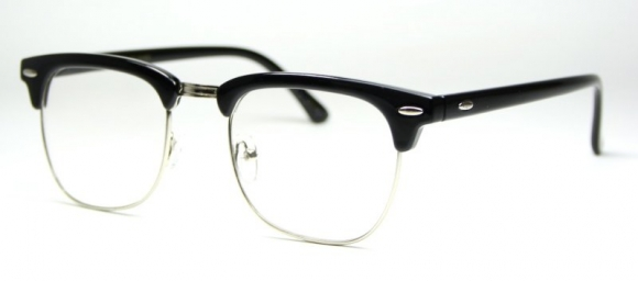 Vintage Clubmaster Clear Lens Black/Silver