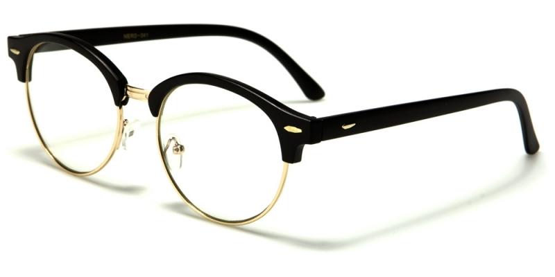 Läsglasögon Rund Clubmasters Svart Guld c9ea01b216bc3