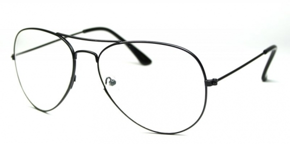 Metal Pilot Clear Lens Black