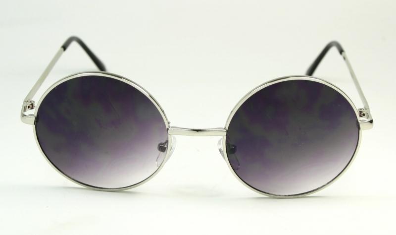 Runda solglasögon med meta båge i silver 1440050b5cb22